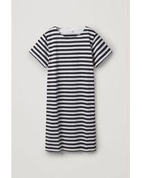 COS Striped Cotton T-shirt Dress - Blue