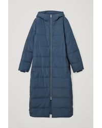 COS Longline Hooded Puffer Coat - Blue
