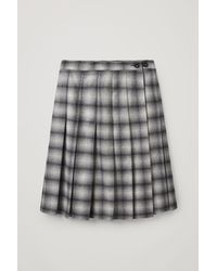 COS Checked Pleated Recycled Wool Skirt - Blue