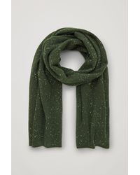 COS Speckled Cashmere Scarf - Green
