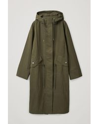 COS Long Hooded Parka - Green