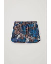 COS Cotton Printed Pyjama Shorts - Blue