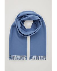 COS Recycled Wool Mix Scarf - Blue
