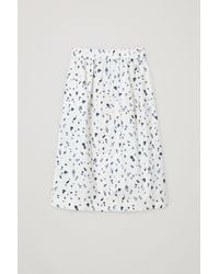 COS Cotton Droplet Print A-line Skirt - White
