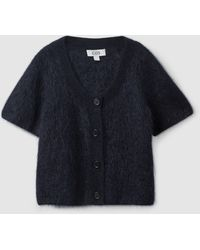 COS Short-sleeve Mohair Cardigan - Blue