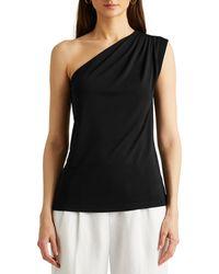Lauren by Ralph Lauren Top Stretch Jersey One-Shoulder - Noir