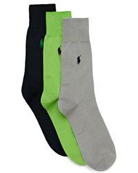 Polo Ralph Lauren Mercerized Cotton 3 Pack Fashion Socks - Grün