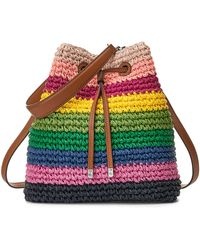 Lauren by Ralph Lauren Sac à main Crochet-Straw Debby Drawstring - Multicolore