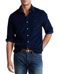 Polo Ralph Lauren Custom Fit Corduroy Hemd - Blau