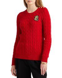 Lauren by Ralph Lauren Maglione Button-Trim Cable-Knit - Rosso