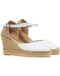 Penelope Chilvers High Mary Jane Leather Espadrilles - White