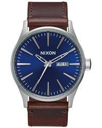 Nixon Orologio Sentry Leather - Blu