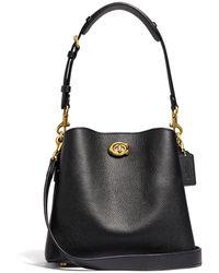 COACH Satchel Polished Pebble Leather Willow Bucket Bag 21 - Noir