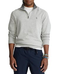 Polo Ralph Lauren Luxury Jersey Quarter Zip Pullover - Grau
