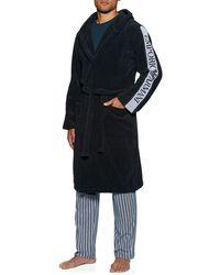 Emporio Armani Dressing Gown Woven Bathrobe - Noir