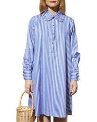 Le Mont St Michel Rififi Striped Shirt Dress - Blue