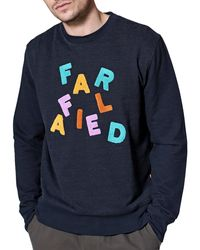 Far Afield Maglione Wonky Logo - Blu