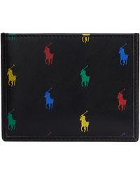 Polo Ralph Lauren Card Holder All Over Pony Smooth Leather - Noir