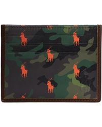 Polo Ralph Lauren Card Holder Camo Leather Smooth Leather - Vert