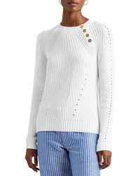 Lauren by Ralph Lauren Maglione Bottom-Trim Cotton - Bianco