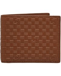 GANT Leather Signature Weave Wallet - Brown