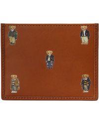 Polo Ralph Lauren Card Holder Polo Bear Leather - Marron