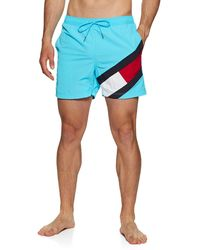 Tommy Hilfiger Slim Fit Mid Length Badeshorts - Blau