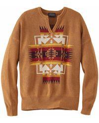 Pendleton Knits Graphic Cotton Sweater - Marron