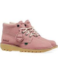 Kickers Kick Hi Leather Boots - Pink