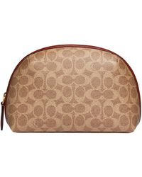 COACH Make Up Bag Coated Canvas Signature Julienne Cosmetic Case 22 - Marron