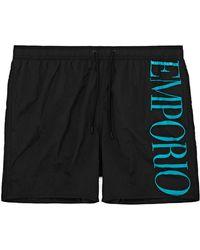 Emporio Armani Boxer Woven Swim Shorts - Black