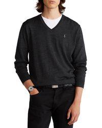 Polo Ralph Lauren Sweat Long Sleeve V Neck - Noir