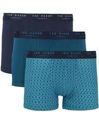 Ted Baker Caleçons 3 Pack Cotton Fashion Trunk - Bleu