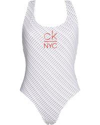 Calvin Klein Maillot de Bain Scoop Neck CK NYC - Blanc