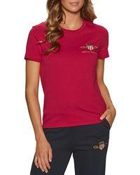 GANT T-Shirt a Manica Corta Archive Shield - Rosso