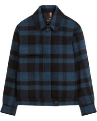 Paul Smith Veste Wool-Blend Brushed Check - Bleu