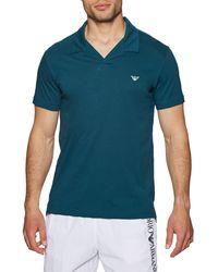 Emporio Armani Knit Polo Shirt - Blue