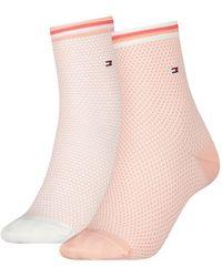 Tommy Hilfiger Short Sock 2 Pack Collegiate Honeycomb Fashion Socks - Multicolour