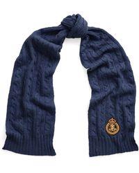 Lauren by Ralph Lauren Écharpe Cable Knit Crest Patch - Bleu
