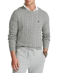Polo Ralph Lauren Cable Knit Cotton Pullover - Grau