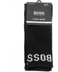 BOSS Athleisure Athleisure Two-pack Quarter Length Cotton Rich Socks - Black