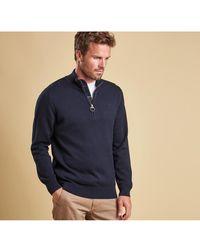 Barbour Cotton Half Zip Sweater - Blue
