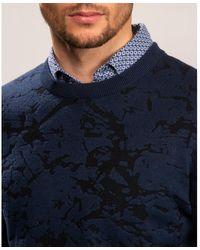 Calvin Klein Cotton Blend Abstract Jumper - Blue