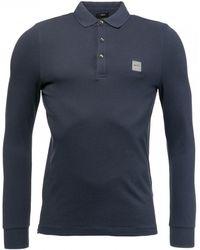 BOSS by Hugo Boss Slim-fit Passerby Long Sleeve Polo Shirt - Blue