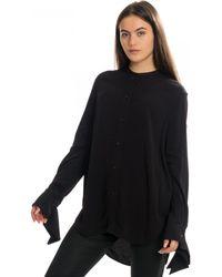 Calvin Klein Draped Cuff Long Sleeve Blouse - Black