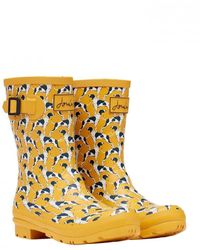 Joules Mid Height Printed Welly Molly Welly - Metallic