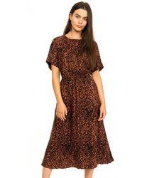 Calvin Klein Leopard 3/4 Sleeve Dress - Brown