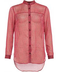 34375157 French Connection - Aubine Crinkle Collarless Womens Shirt - Lyst