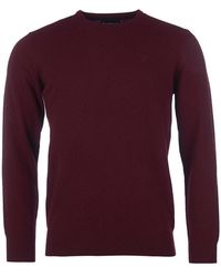 Barbour Essential Lambswool Crew Neck Jumper - Red