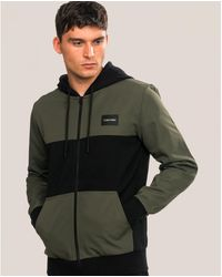 Calvin Klein Mix Media Zip Through Jacket - Green